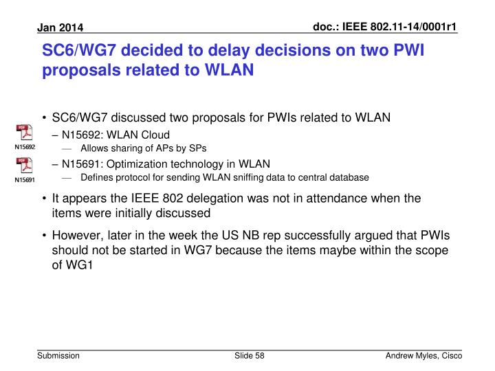 SC6/WG7 decided to delay decisions on two PWI proposals related to WLAN