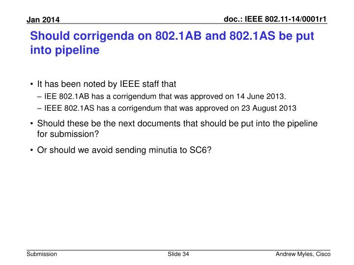 Should corrigenda on 802.1AB and 802.1AS be put into pipeline