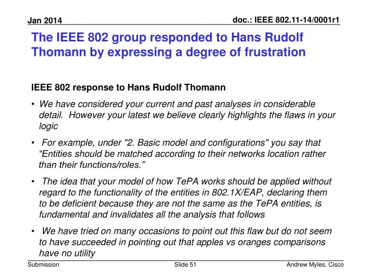 The IEEE 802 group responded to Hans Rudolf
