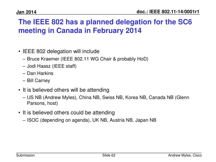 The IEEE 802 has a planned delegation for the SC6 meeting in Canada in February 2014