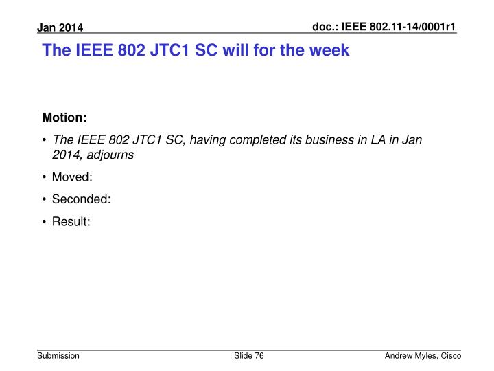 The IEEE 802 JTC1 SC will for the week