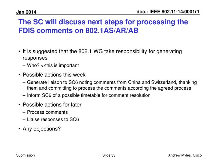 The SC will discuss next steps for processing the FDIS comments on 802.1AS/AR/AB