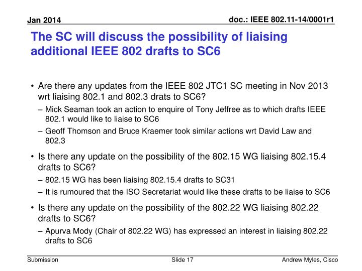 The SC will discuss the possibility of liaising additional IEEE 802 drafts to SC6