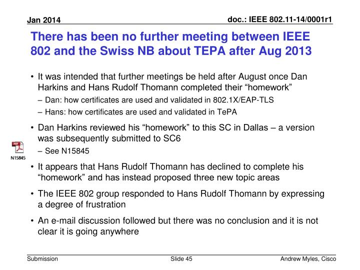 There has been no further meeting between IEEE 802 and the Swiss NB about