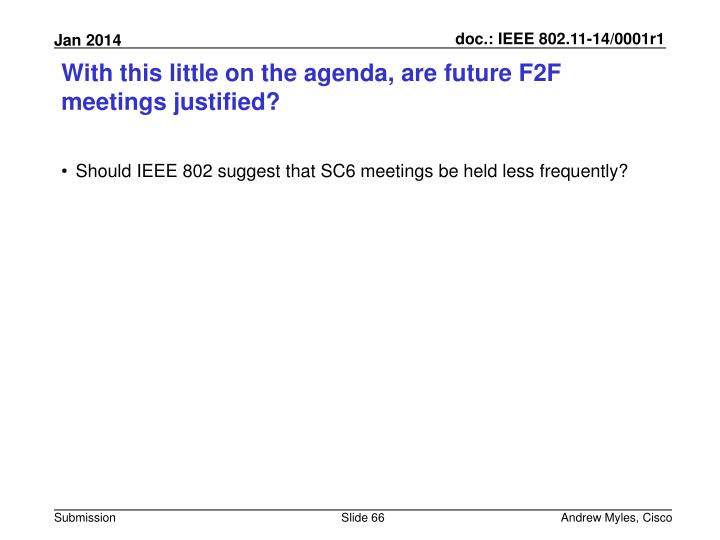 With this little on the agenda, are future F2F meetings justified?