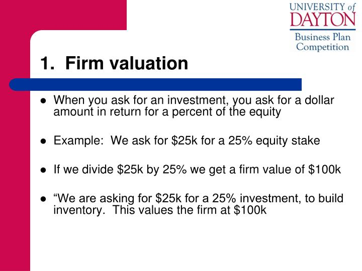 1.  Firm valuation