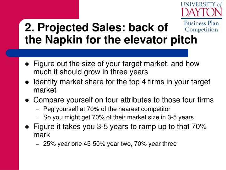 2. Projected Sales: back of            the Napkin for the elevator pitch