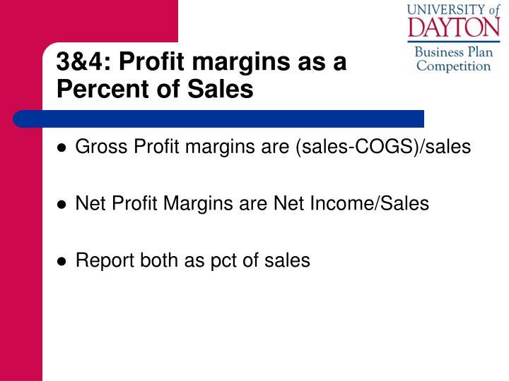 3&4: Profit margins as a              Percent of Sales