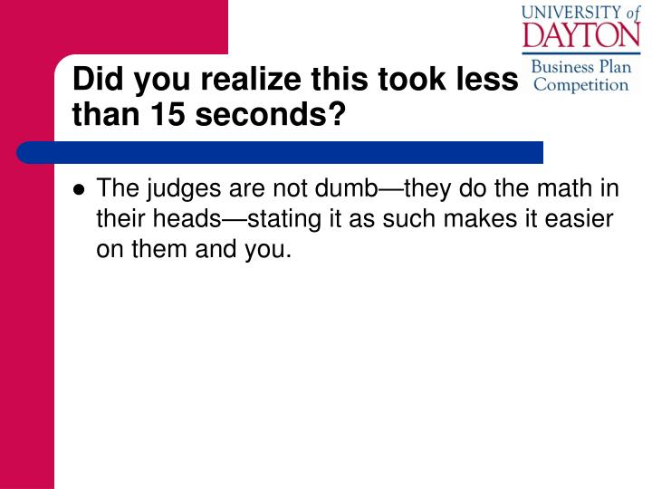 Did you realize this took less          than 15 seconds?