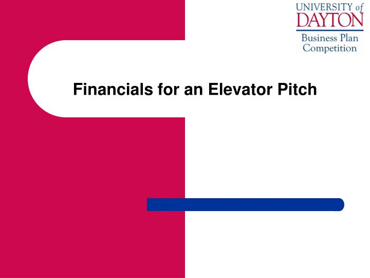 Financials for an elevator pitch