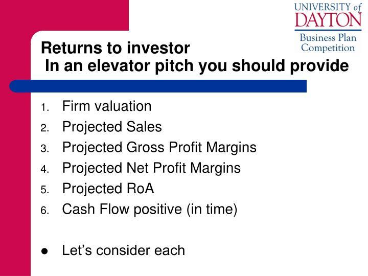 Returns to investor