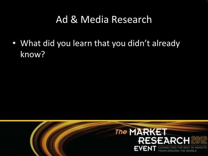 Ad & Media Research