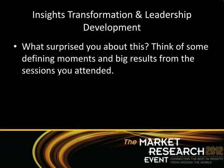 Insights Transformation & Leadership Development
