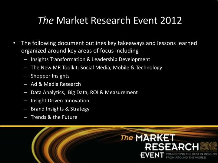 The market research event 2012