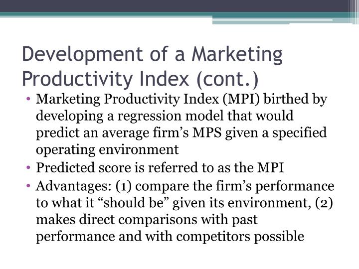 Development of a Marketing Productivity Index (cont.)