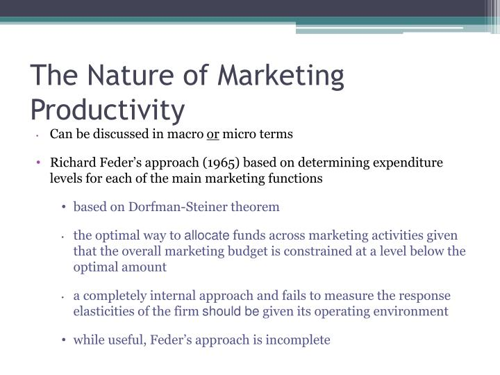 The Nature of Marketing Productivity