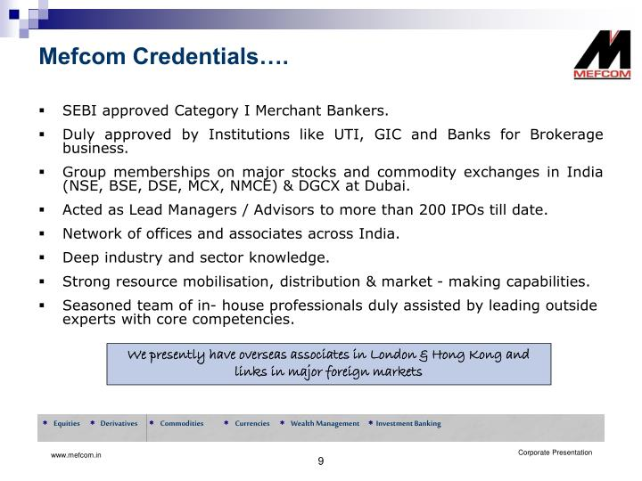 Mefcom Credentials….