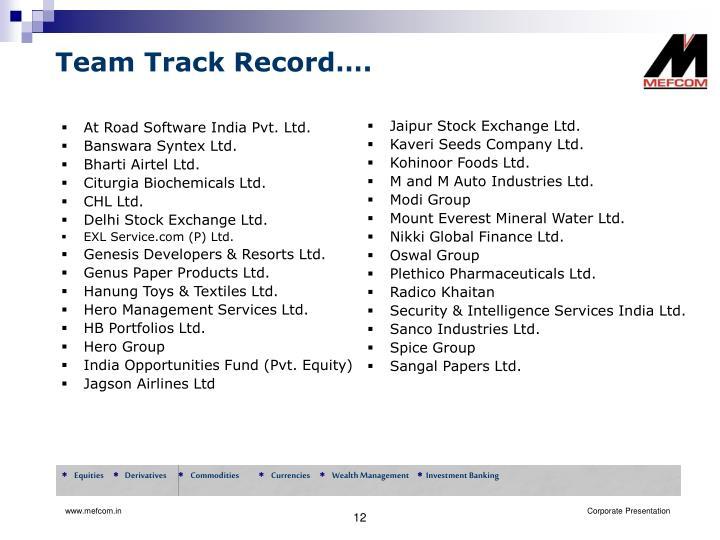 Team Track Record….