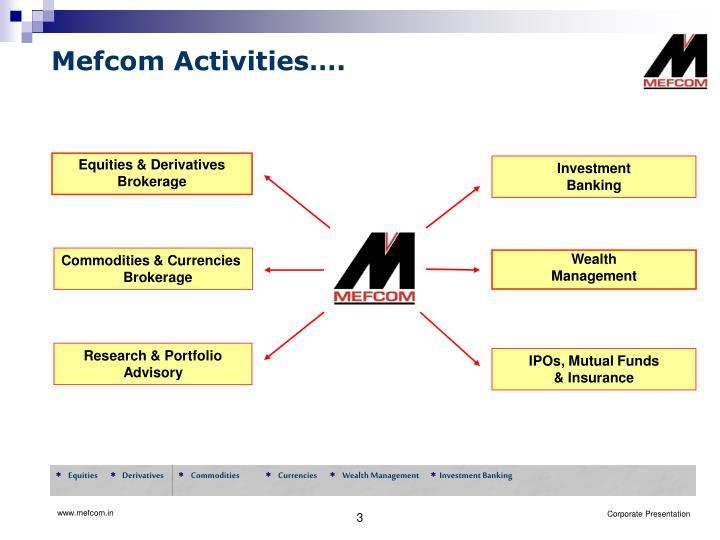 Mefcom Activities….