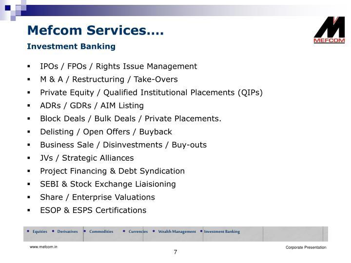 Mefcom Services….