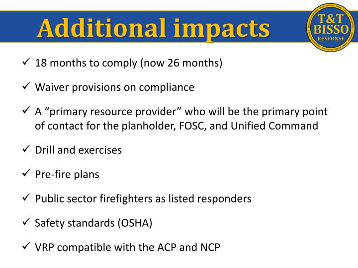 Additional impacts