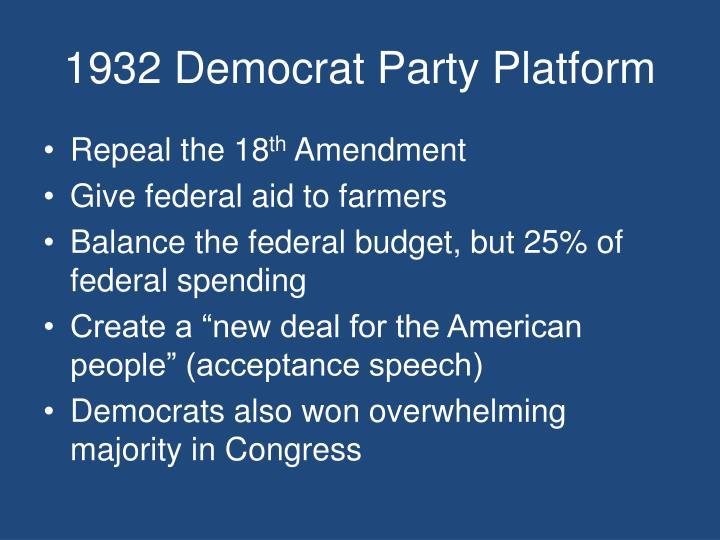 1932 Democrat Party Platform