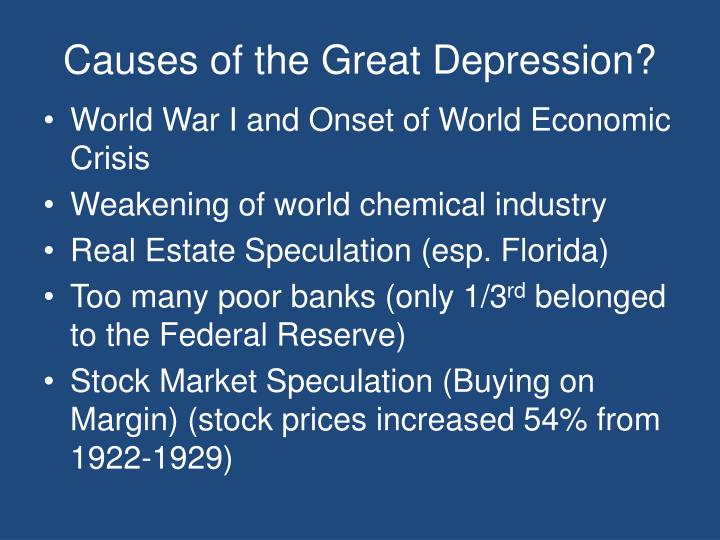 Causes of the Great Depression?