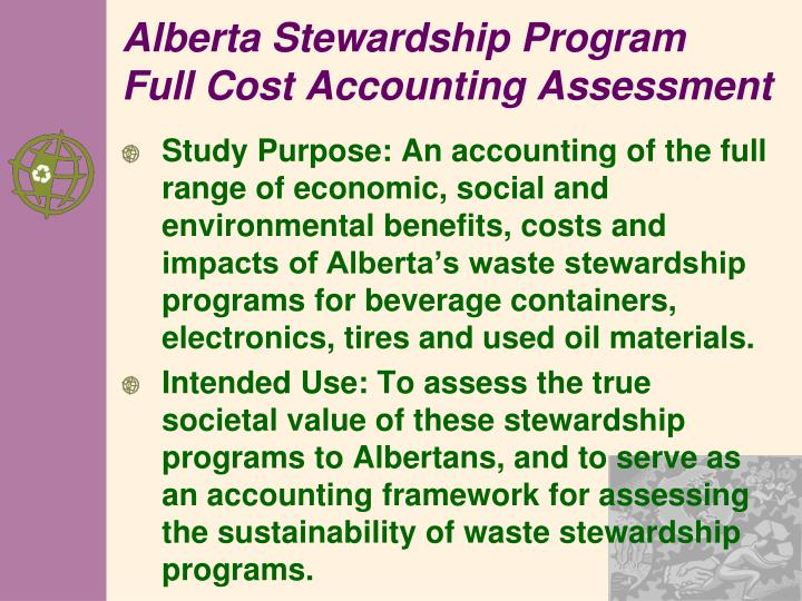 Alberta Stewardship Program FullCost Accounting Assessment