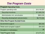 tire program costs