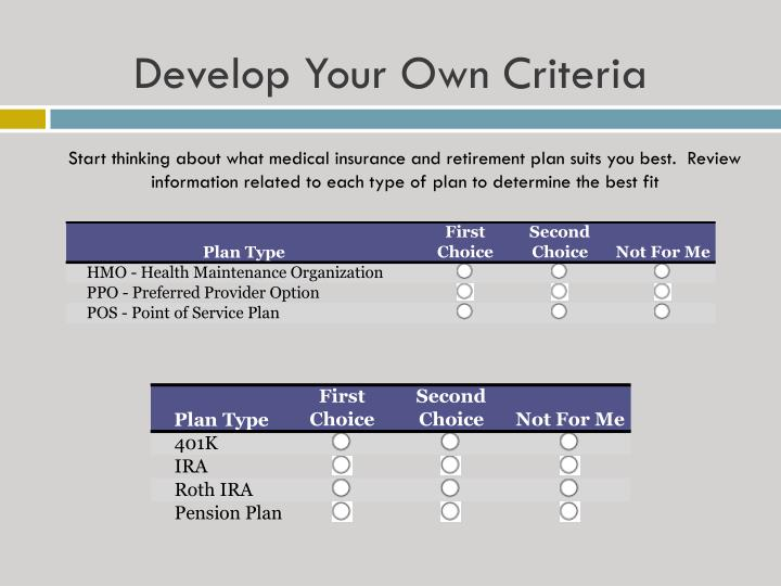 Develop Your Own Criteria