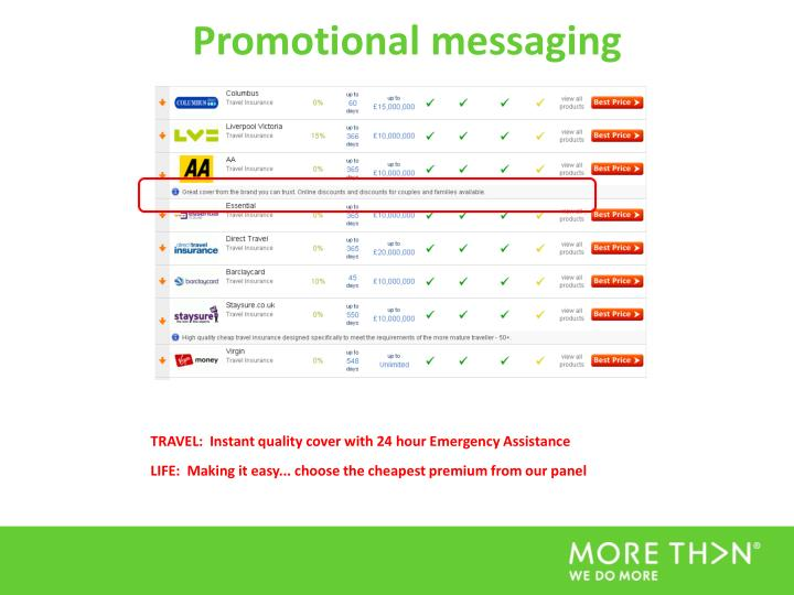 Promotional messaging