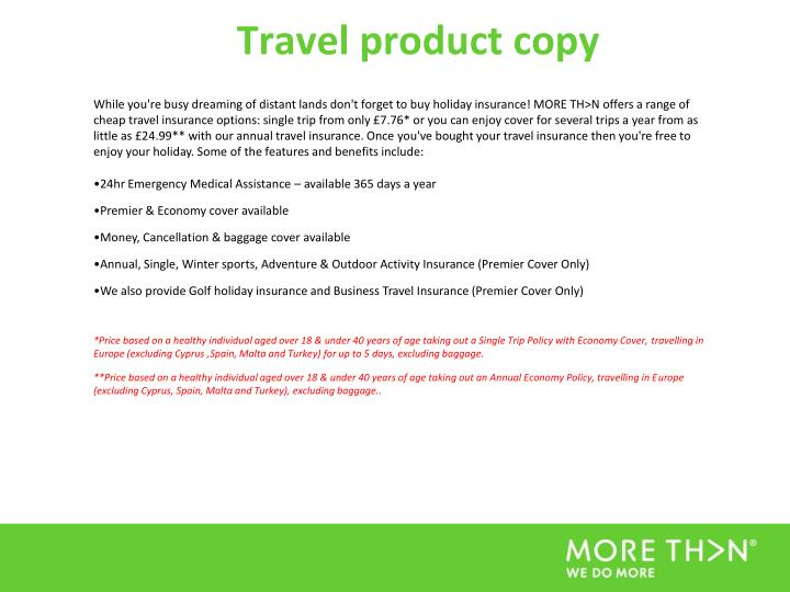 Travel product copy
