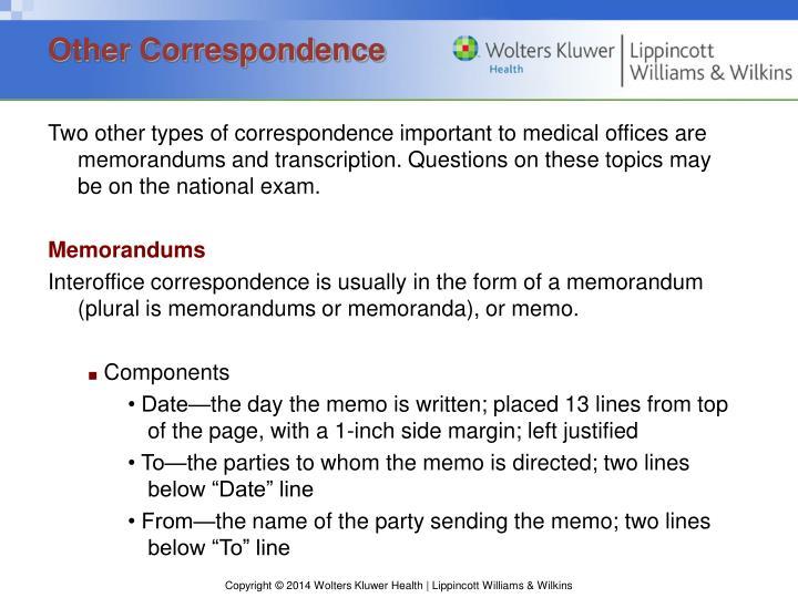 Other Correspondence