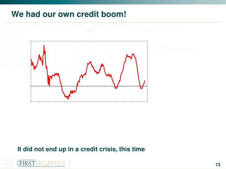 We had our own credit boom!