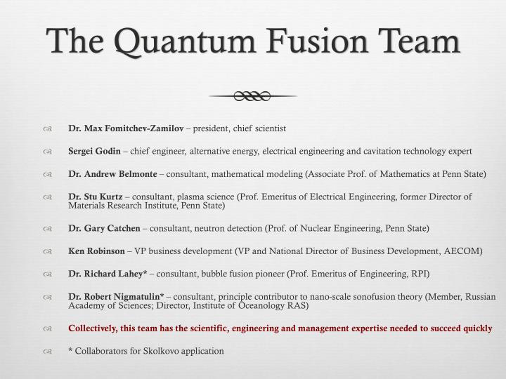 The Quantum Fusion Team