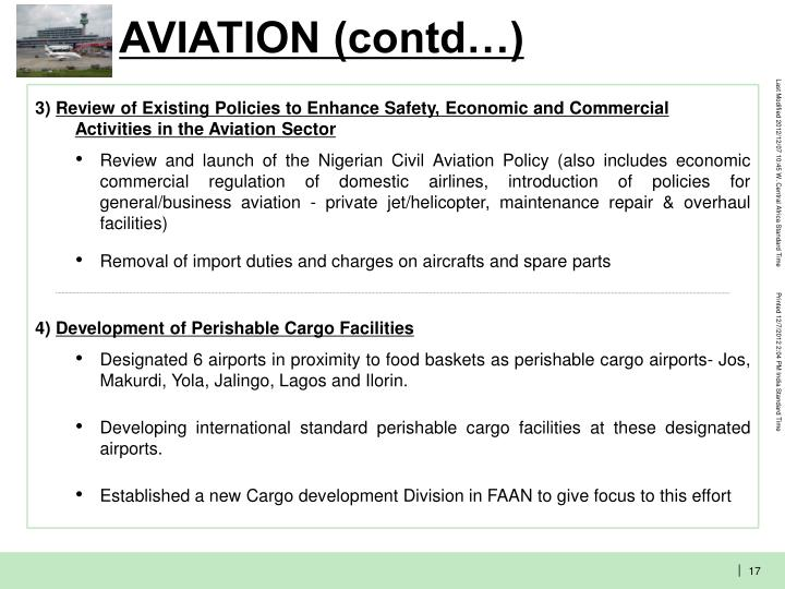 AVIATION (contd…)