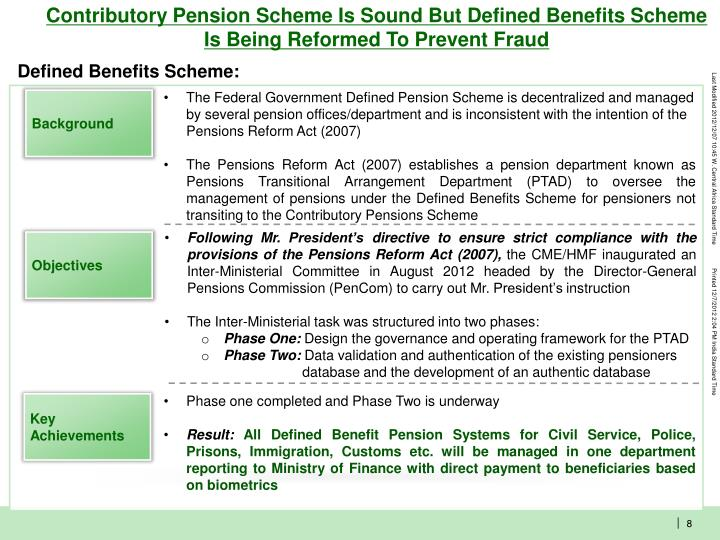 Contributory Pension Scheme Is Sound But Defined Benefits Scheme  Is Being Reformed To Prevent Fraud