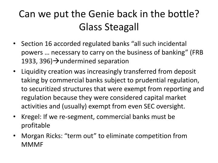Can we put the Genie back in the bottle? Glass