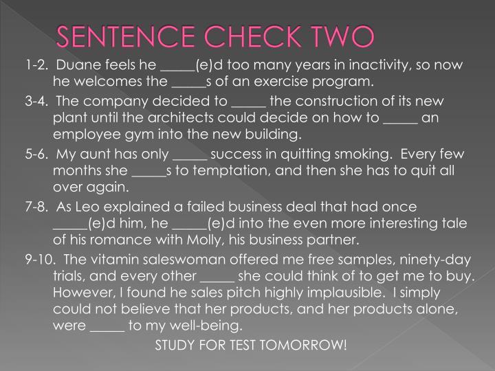 SENTENCE CHECK TWO