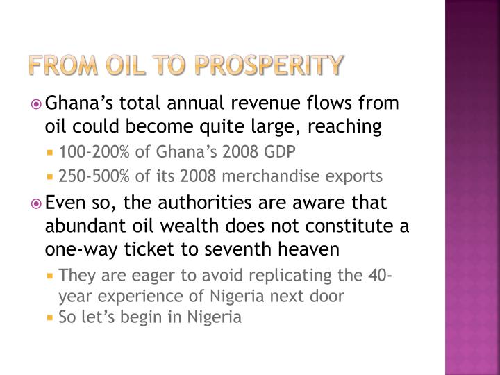 From Oil to prosperity