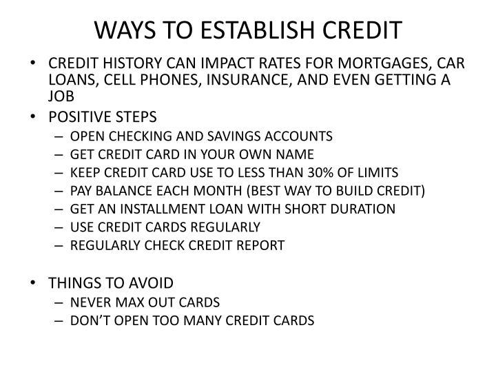 WAYS TO ESTABLISH CREDIT
