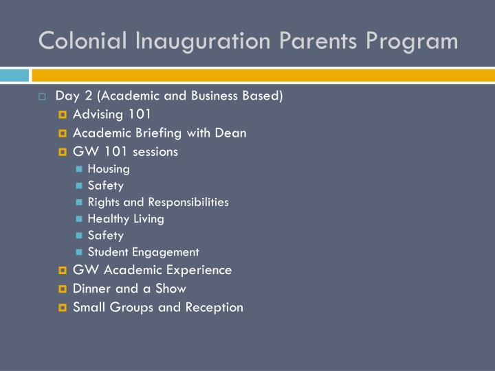 Colonial Inauguration Parents Program