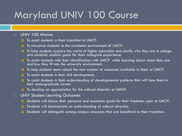 Maryland UNIV 100 Course
