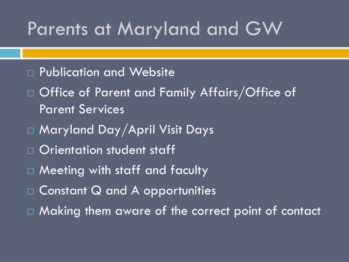 Parents at Maryland and GW