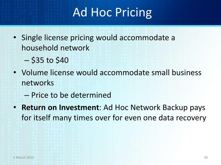 Ad Hoc Pricing
