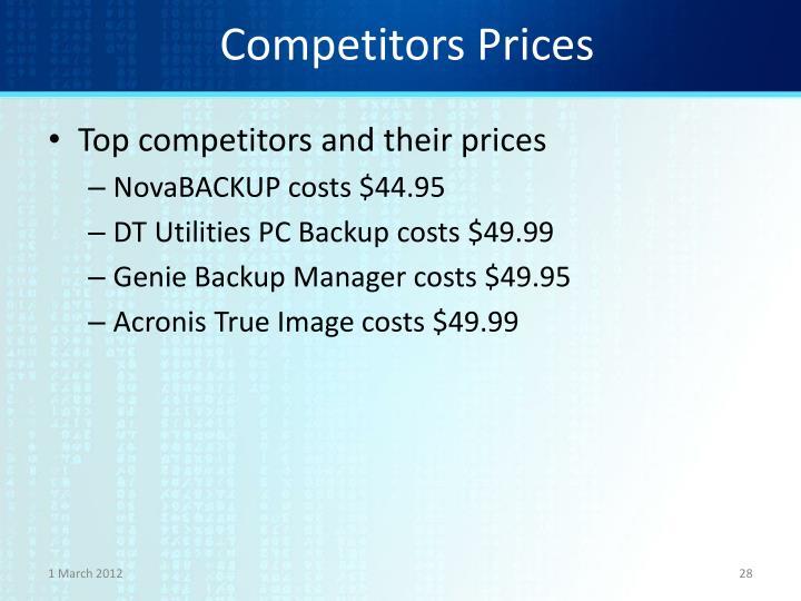 Competitors Prices