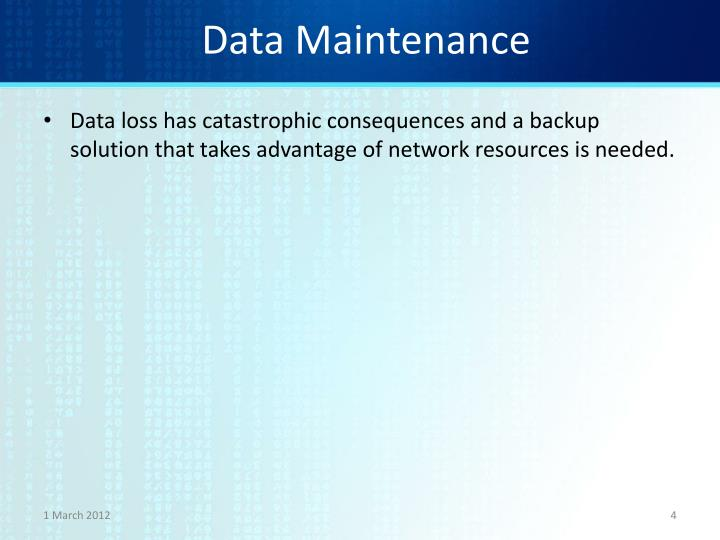 Data Maintenance