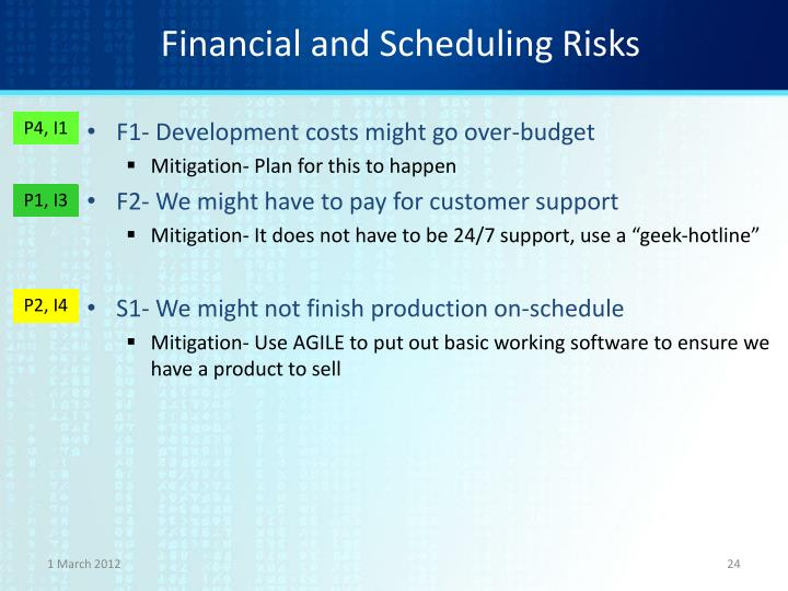 Financial and Scheduling Risks