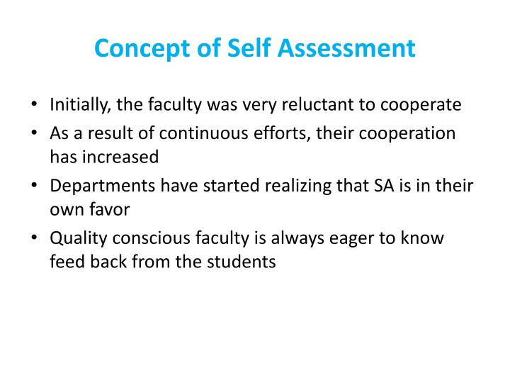Concept of Self Assessment