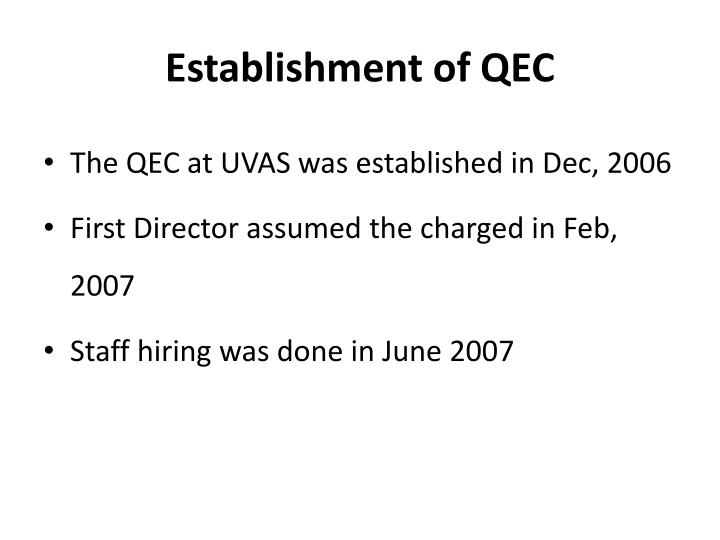 Establishment of QEC